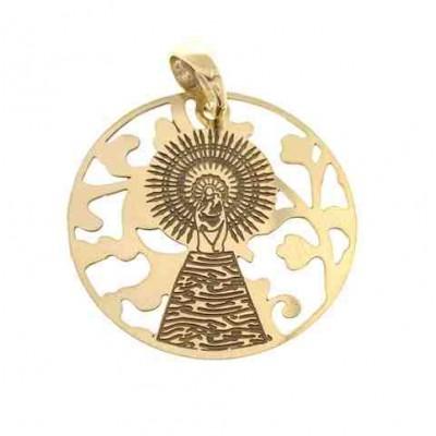 Medalla Virgen Pilar en Plata de Ley Chapada 25mm MP005D