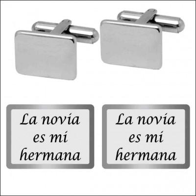 GEMELOS ACERO 316 L, RECTANGULAR 15 mm, bodas G10201/SBO.90