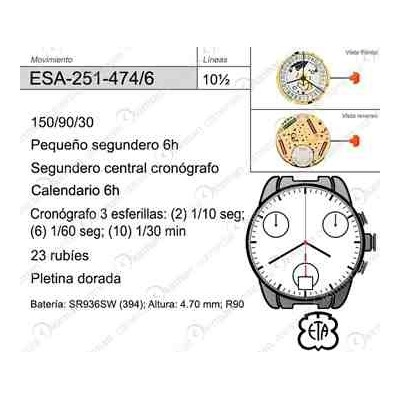 MOVIMIENTO ESA 251-474 CAL. 6H